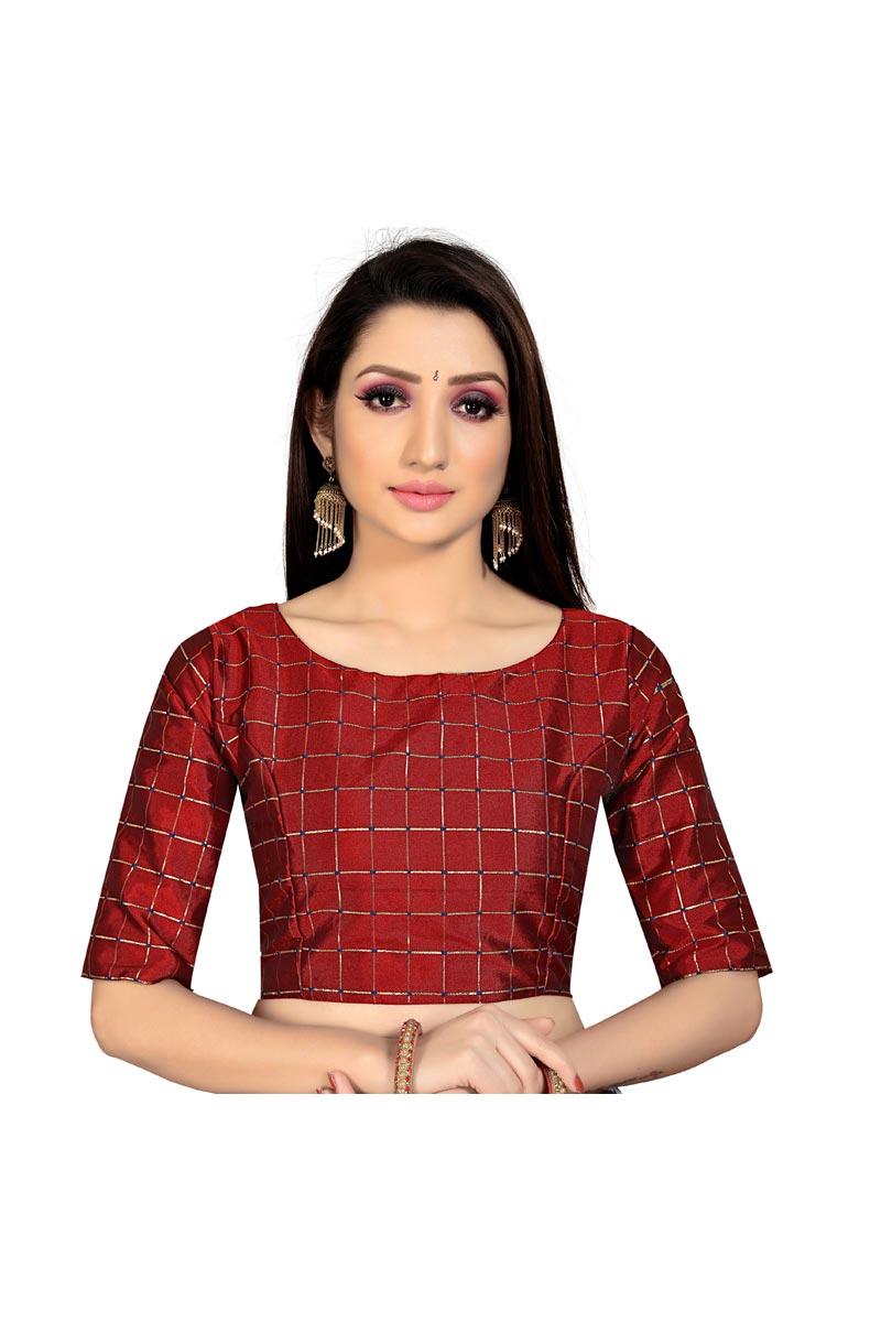 Casual Wear Maroon Color Fancy Art Silk Fabric Readymade Blouse