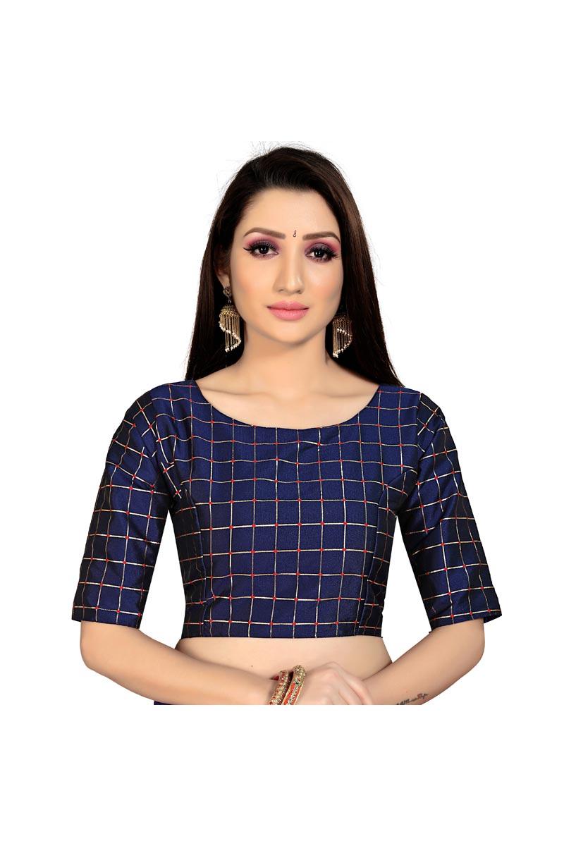 Casual Wear Art Silk Fabric Fancy Navy Blue Color Readymade Blouse
