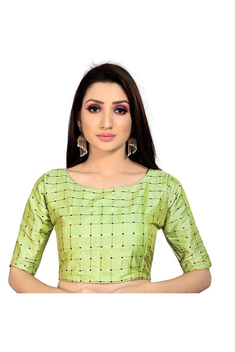 Fancy Casual Wear Sea Green Color Readymade Blouse In Art Silk Fabric