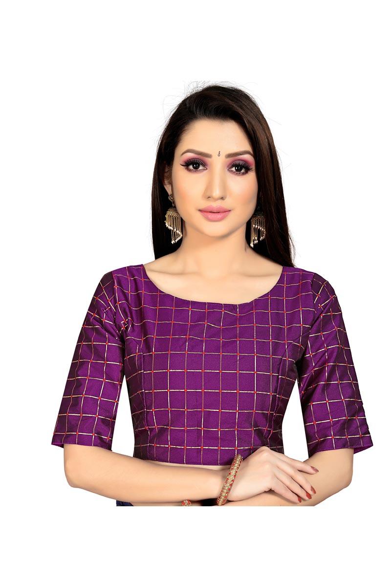Casual Wear Fancy Purple Color Art Silk Fabric Readymade Blouse