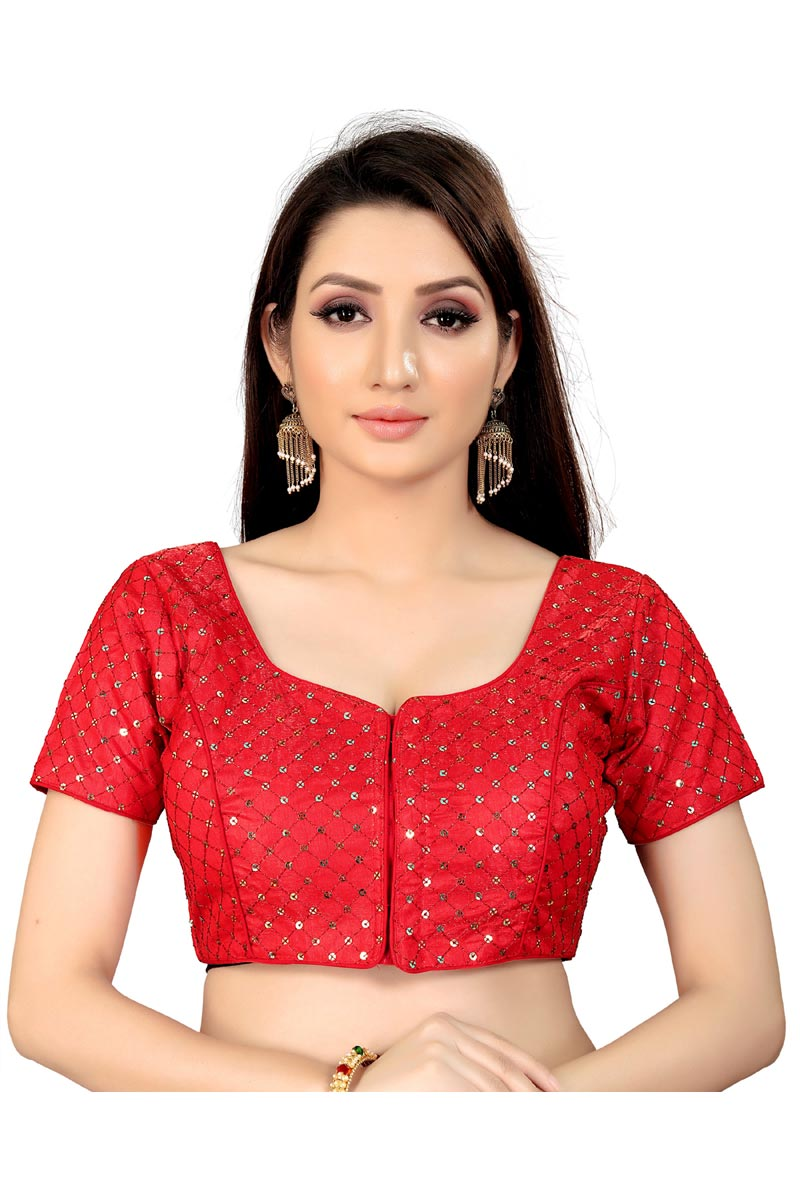 Fancy Red Color Casual Wear Readymade Blouse In Art Silk Fabric