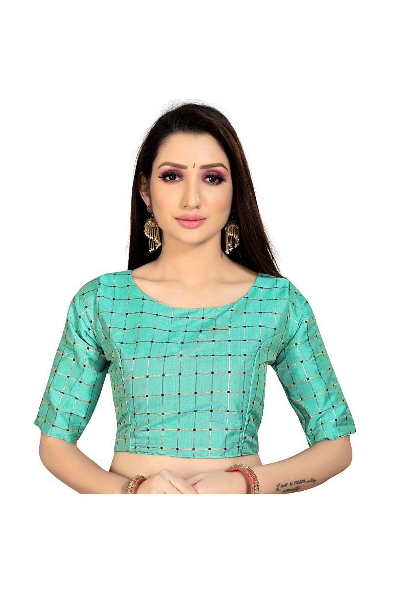 Fancy Casual Wear Art Silk Fabric Cyan Color Readymade Blouse
