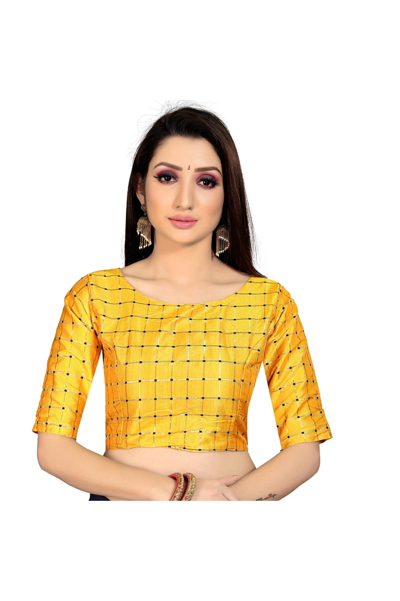 Fancy Casual Wear Yellow Color Art Silk Fabric Readymade Blouse