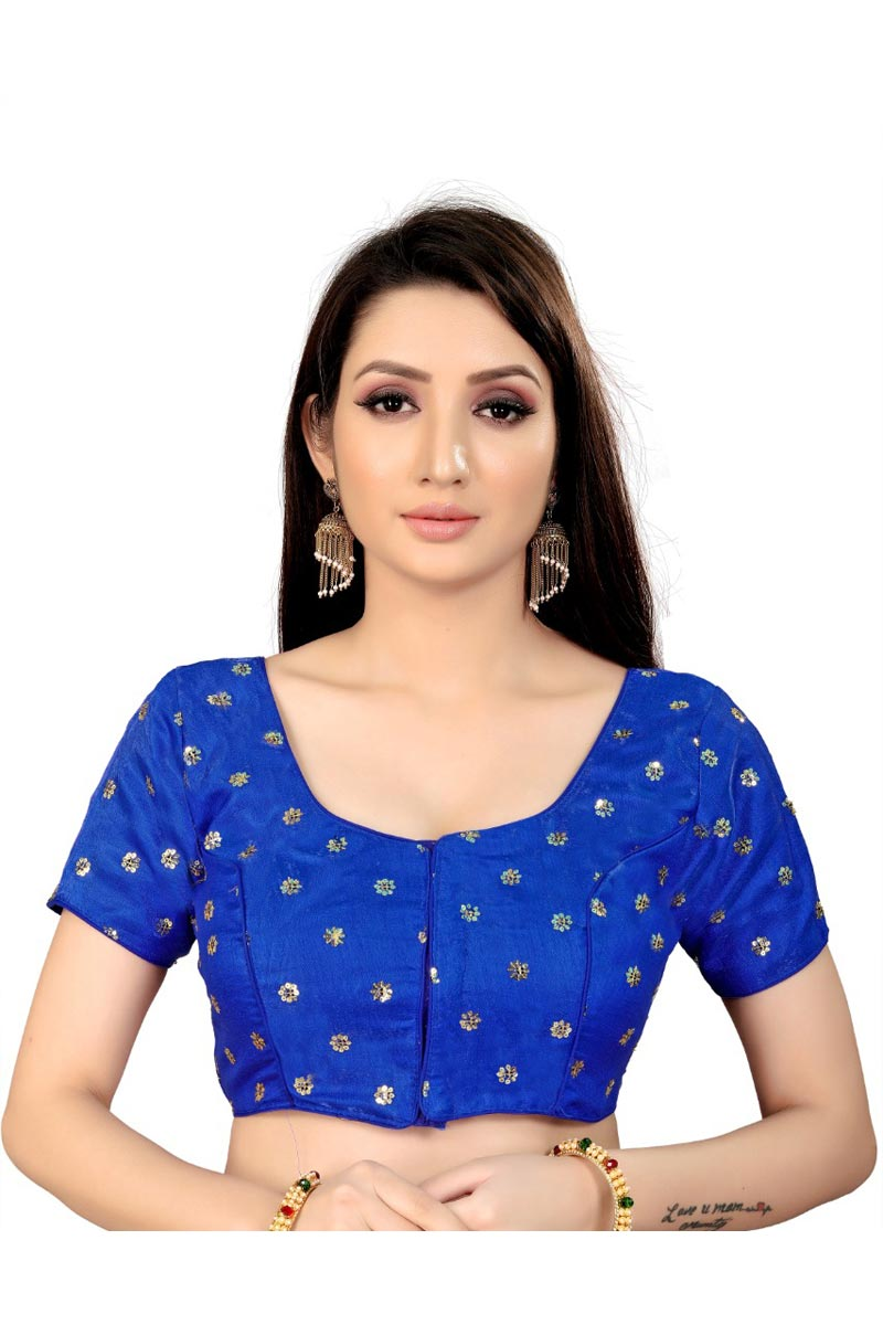 Chic Blue Color Festive Wear Readymade Blouse In Art Silk Fabric