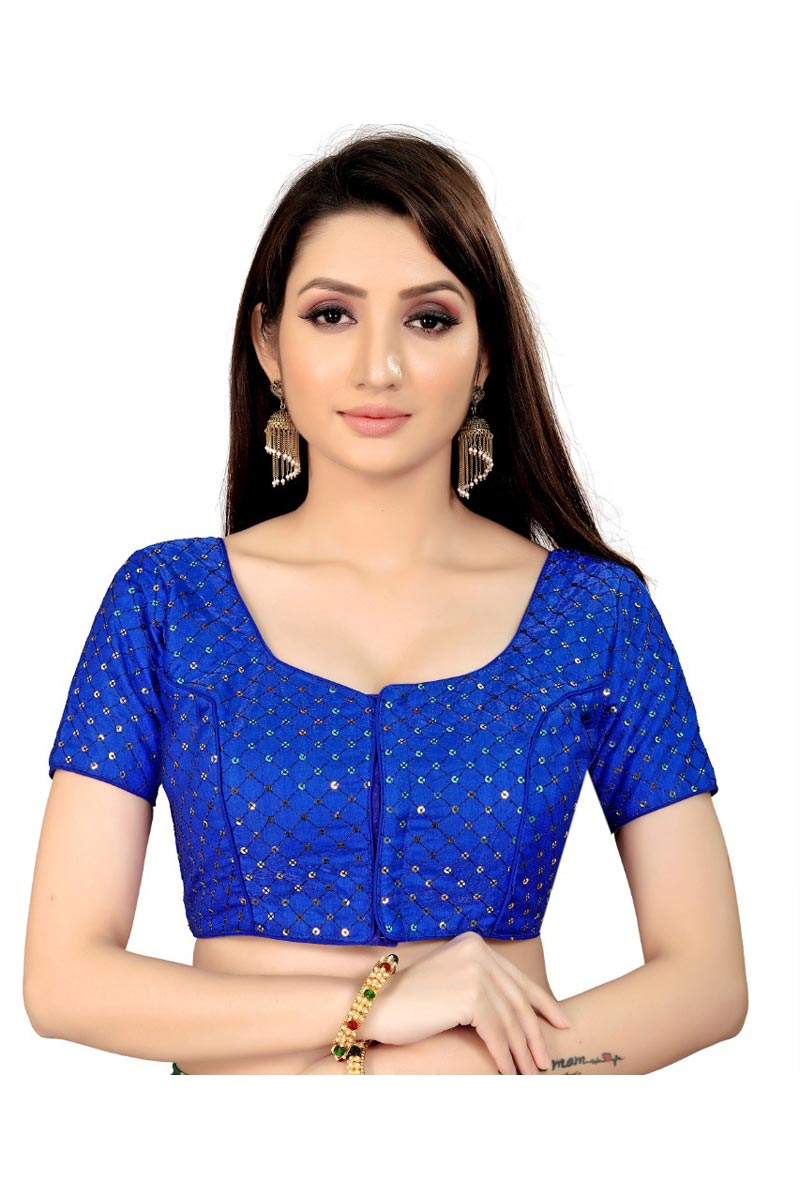 Chic Festive Wear Art Silk Fabric Blue Color Readymade Blouse