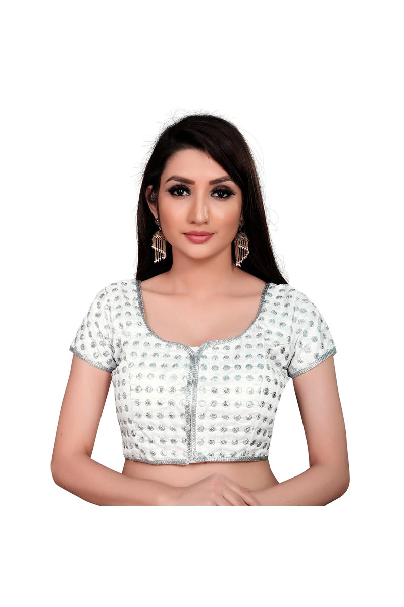 Festive Wear Chic Art Silk Fabric Off White Color Readymade Blouse