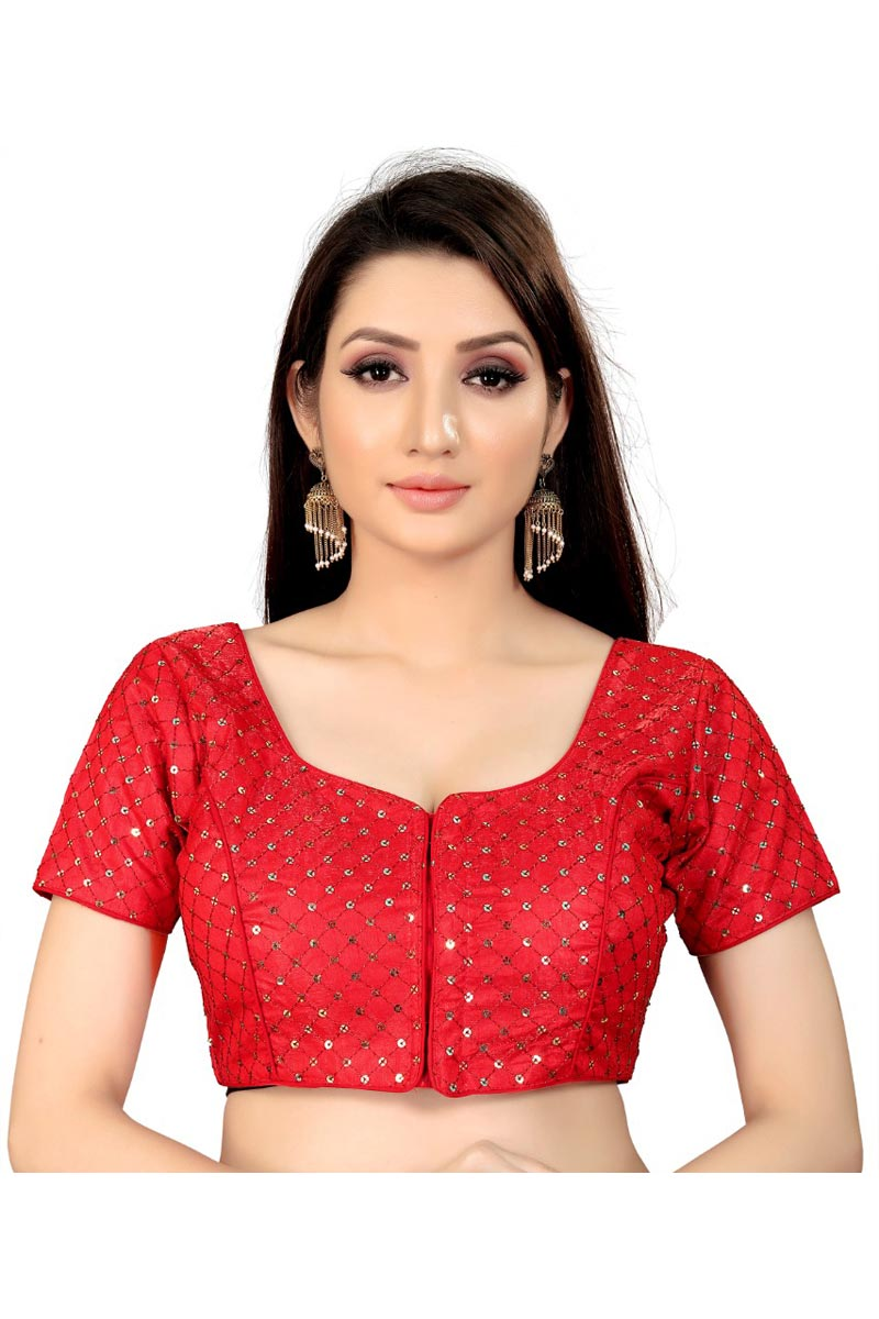 Chic Art Silk Fabric Festive Wear Red Color Readymade Blouse