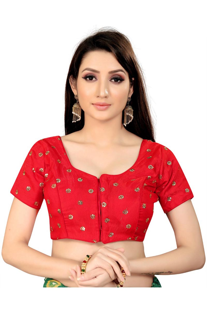 Chic Art Silk Fabric Festive Wear Readymade Blouse In Red Color