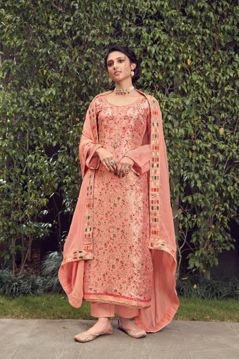 Party Wear Peach Color Trendy Weaving Work Straight Cut Suit In Jacquard Silk Fabric