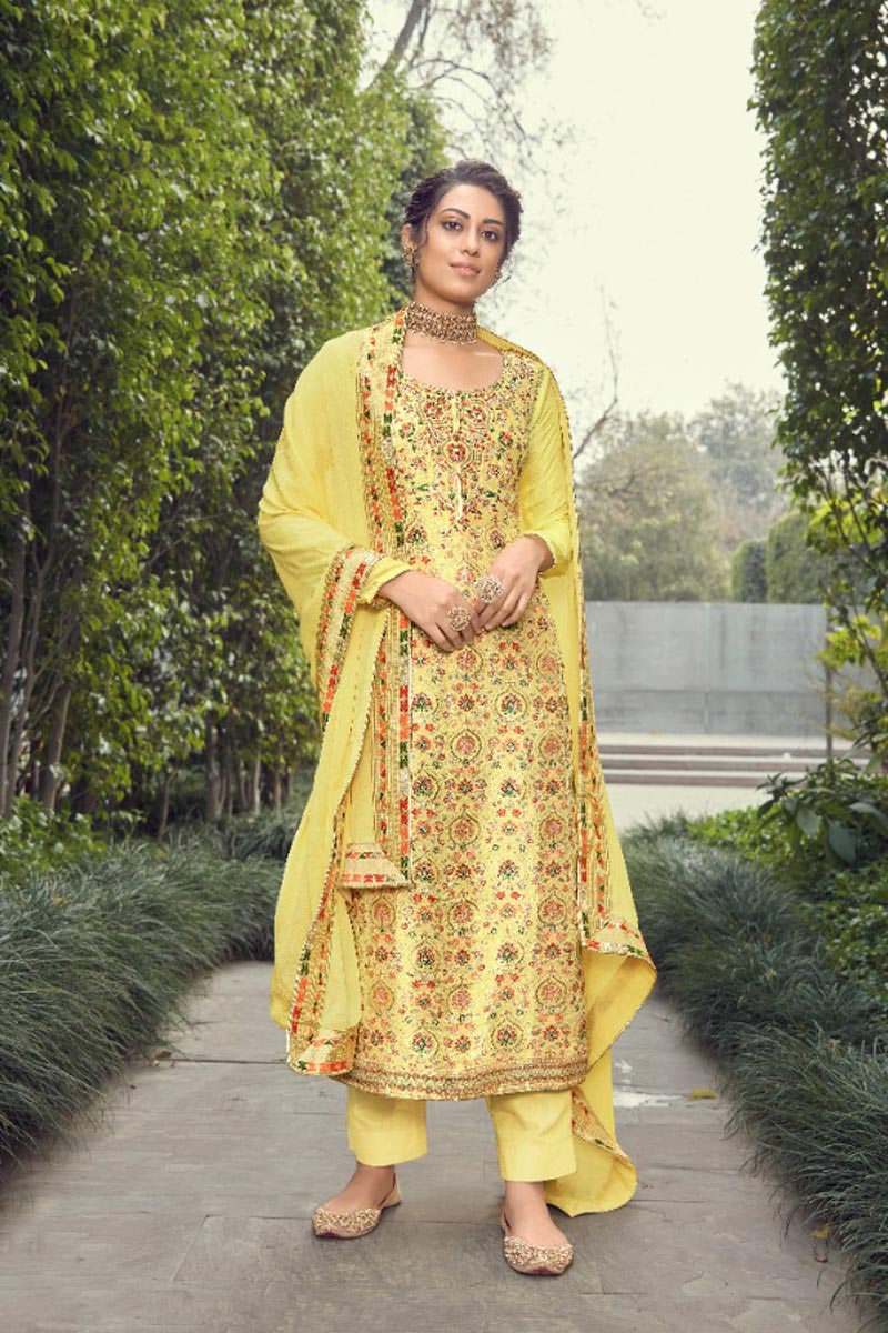 Yellow Color Party Wear Trendy Weaving Work Jacquard Silk Fabric Straight Cut Dress