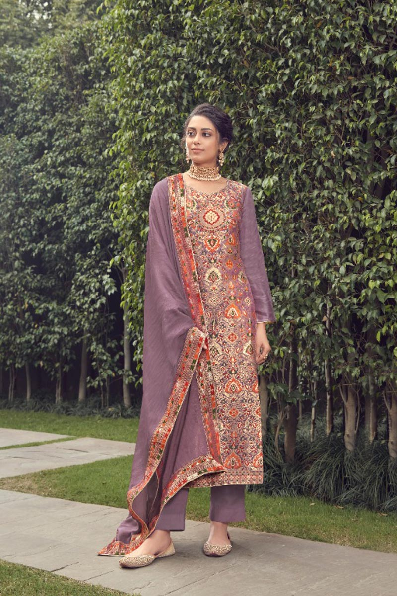 Lavender Color Party Wear Trendy Weaving Work Straight Cut Suit In Jacquard Silk Fabric