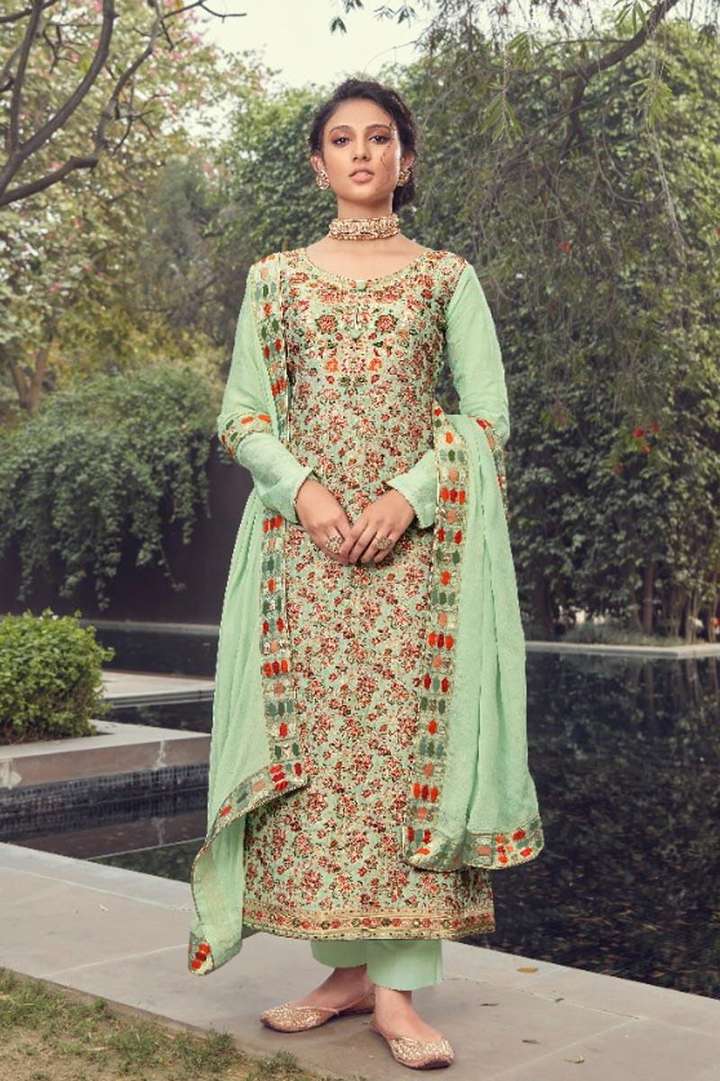 Party Wear Sea Green Color Jacquard Silk Fabric Trendy Weaving Work Straight Cut Dress