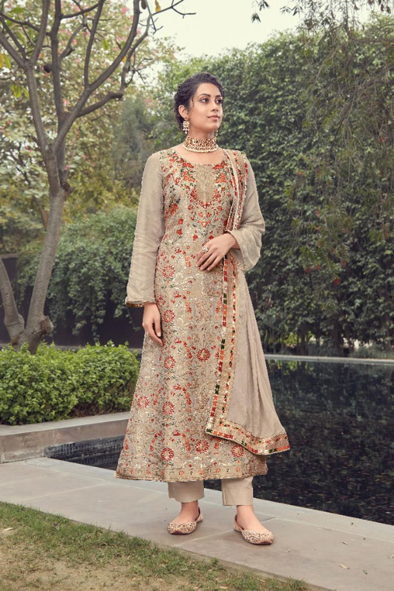Jacquard Silk Fabric Party Wear Trendy Weaving Work Straight Cut Suit In Cream Color