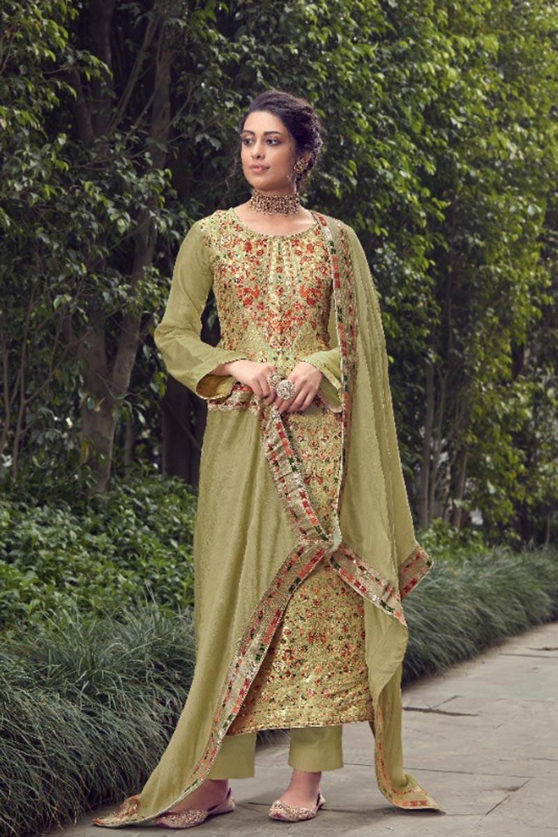Party Wear Mehendi Green Color Trendy Weaving Work Straight Cut Jacquard Silk Fabric Dress