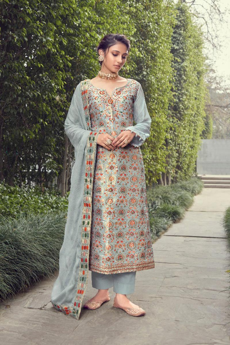 Grey Color Trendy Weaving Work Straight Cut Suit In Jacquard Silk Fabric