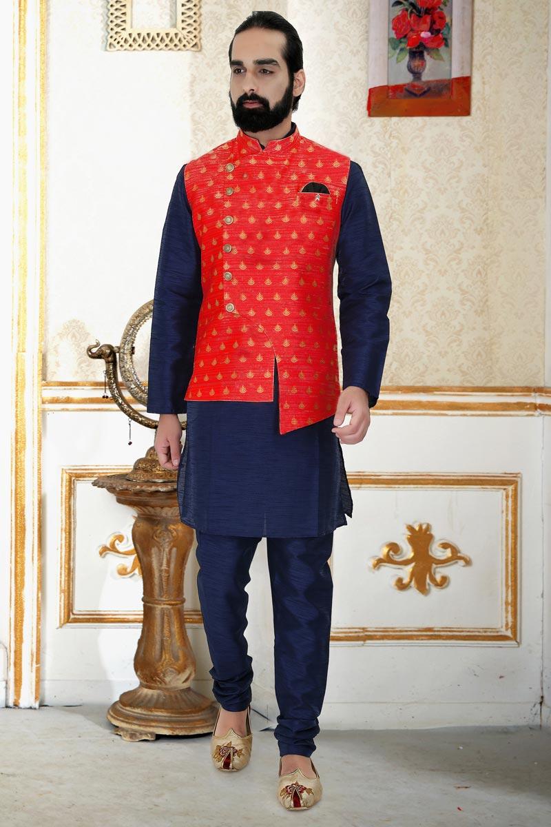 Navy Blue Color Art Silk Fabric Festive Wear Fancy Mens Kurta Pyjama With Jacket