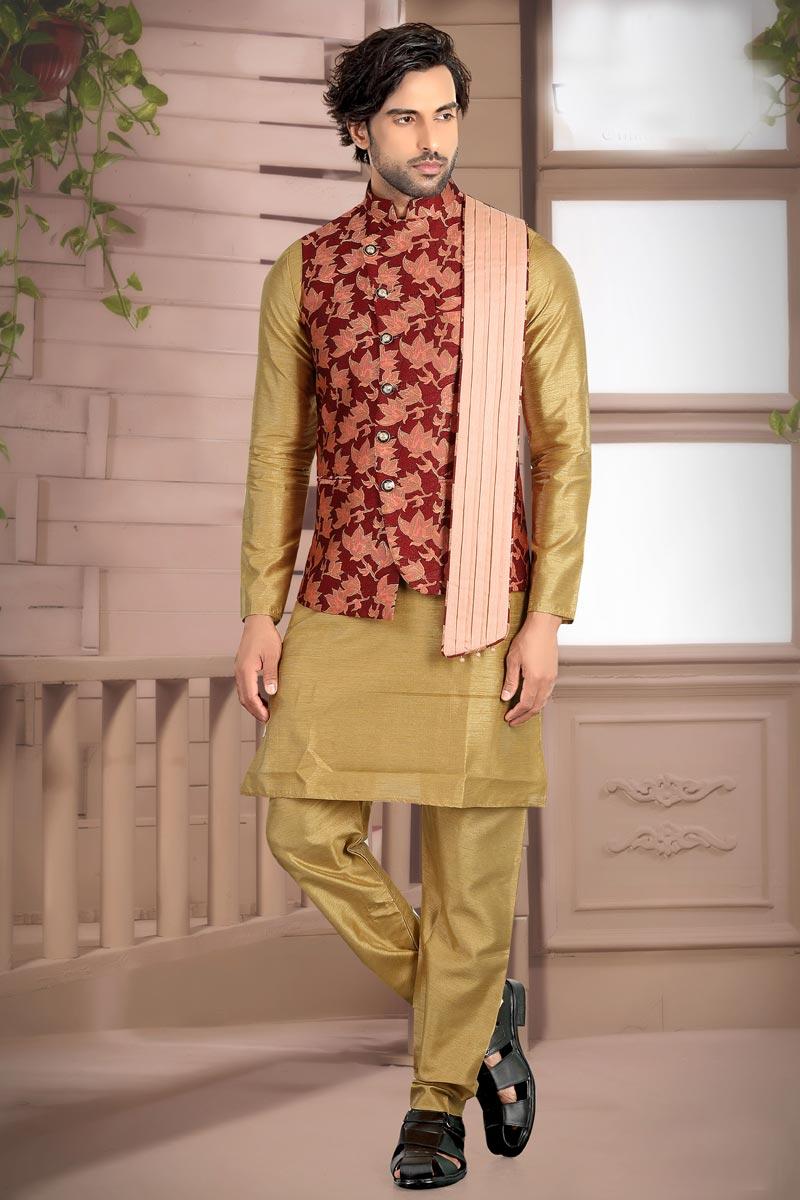 Beige Color Art Silk Fabric Sangeet Wear Fancy Mens Kurta Pyjama With Jacket