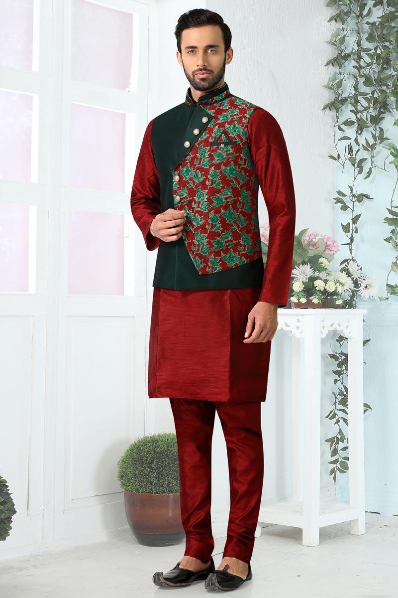 Maroon Color Art Silk Fabric Wedding Wear Fancy Mens Kurta Pyjama With Jacket