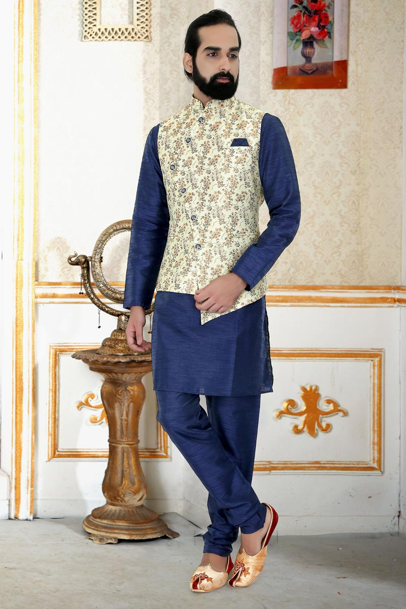 Navy Blue Color Art Silk Fabric Function Wear Stylish Mens Kurta Pyjama With Jacket