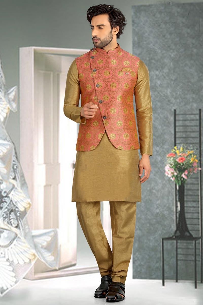 Beige Color Art Silk Fabric Function Wear Mens Kurta Pyjama With Jacket