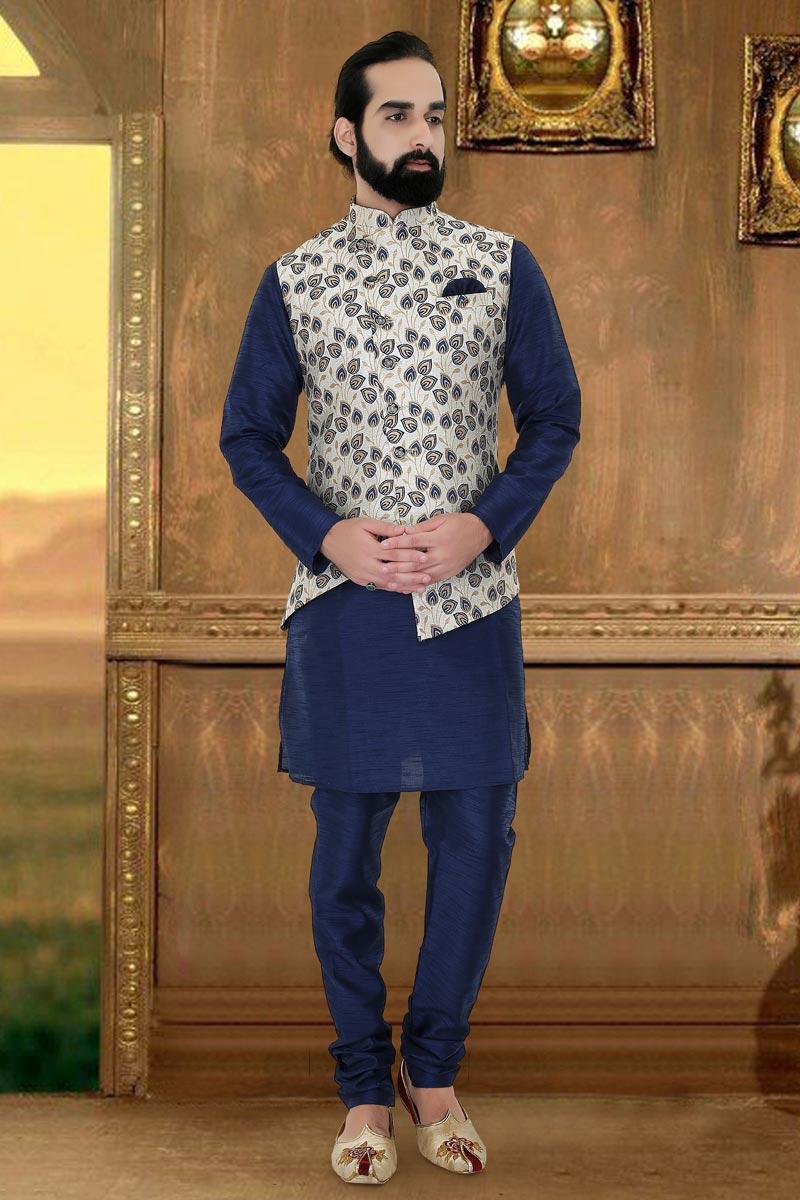Navy Blue Art Silk Fabric Function Wear Fancy Mens Kurta Pyjama With Jacket