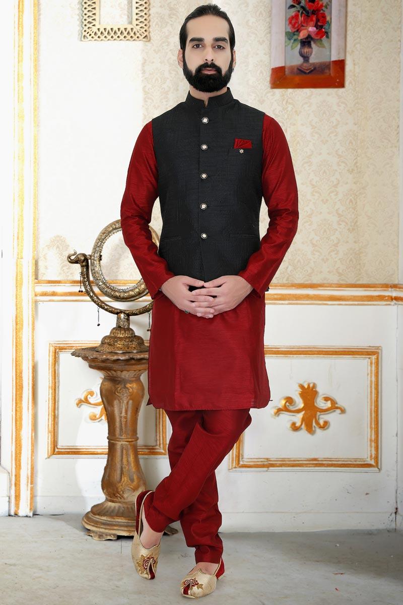 Maroon Color Art Silk Function Wear Fancy Mens Kurta Pyjama With Jacket