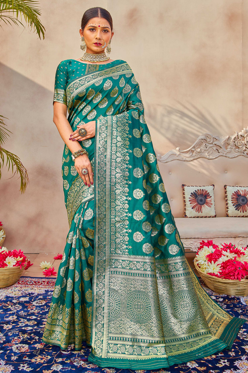 Art Silk Fabric Puja Wear Classic Teal Color Weaving Work Saree