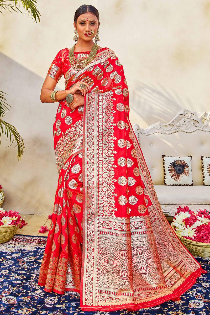 Puja Wear Red Color Classic Art Silk Fabric Weaving Work Saree