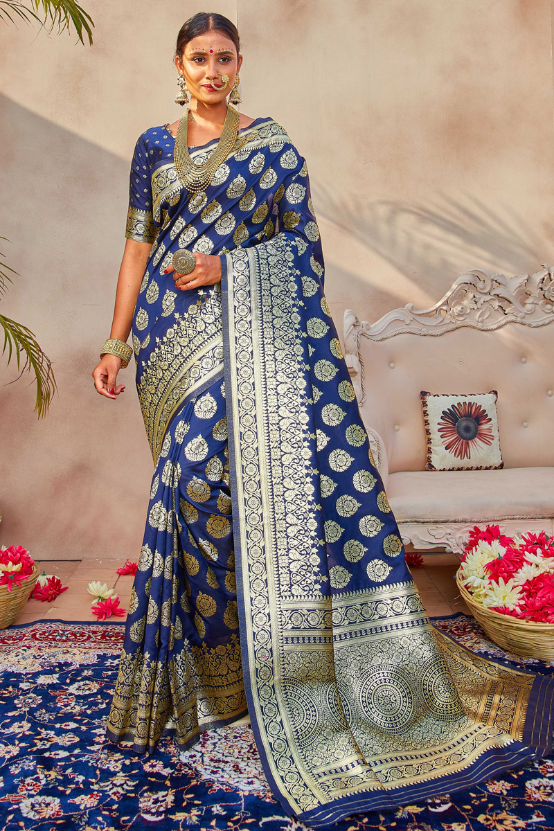Puja Wear Art Silk Fabric Classic Weaving Work Saree In Navy Blue Color