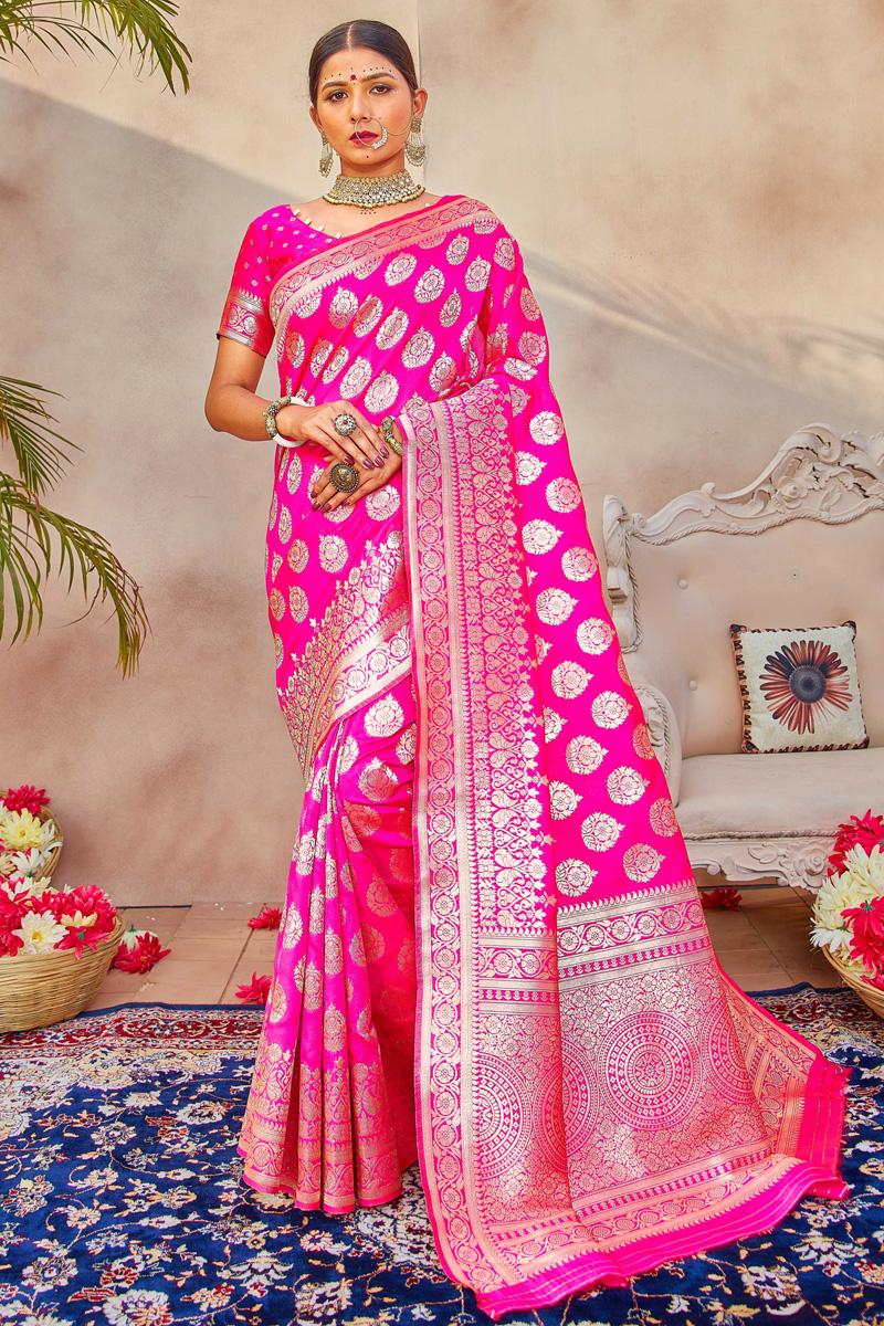 Magenta Color Puja Wear Art Silk Fabric Classic Weaving Work Saree