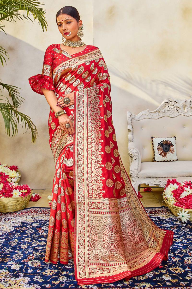 Red Wedding Wear Art Silk Fabric Fancy Weaving Work Saree