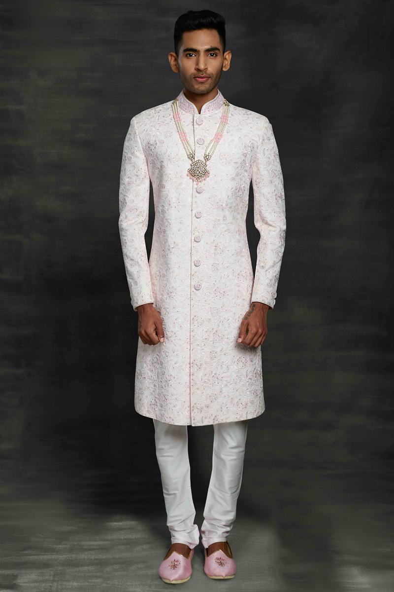 White Color Silk Fabric Wedding Wear Designer Sherwani For Groom