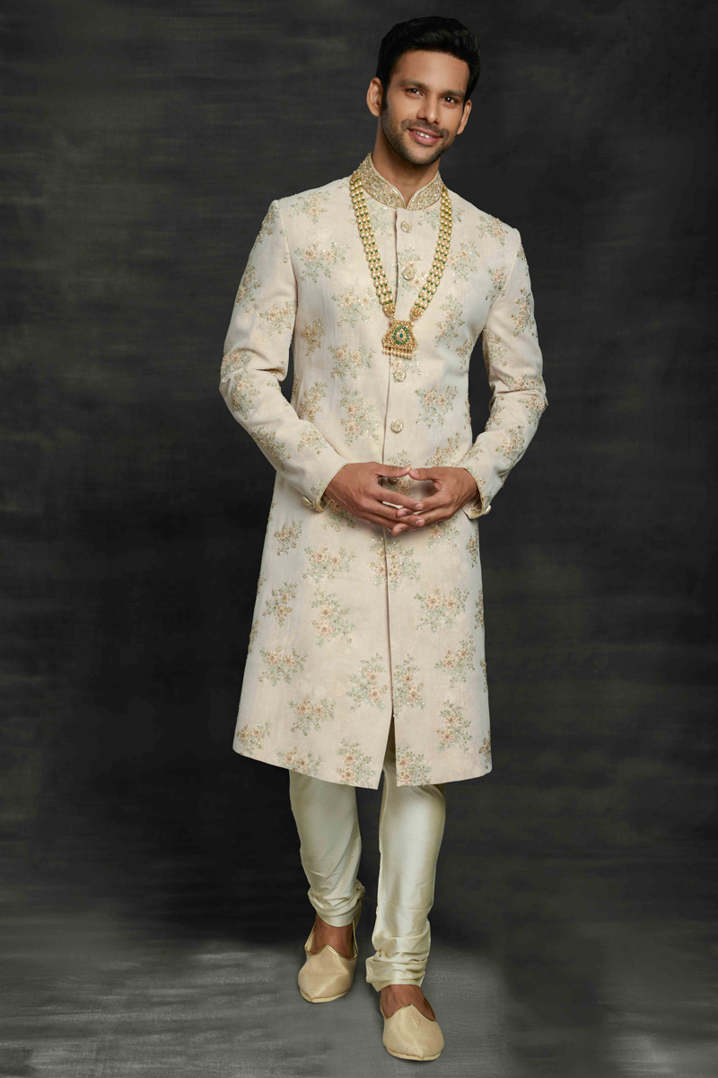 Beige Color Fancy Fabric Wedding Wear Designer Sherwani For Groom