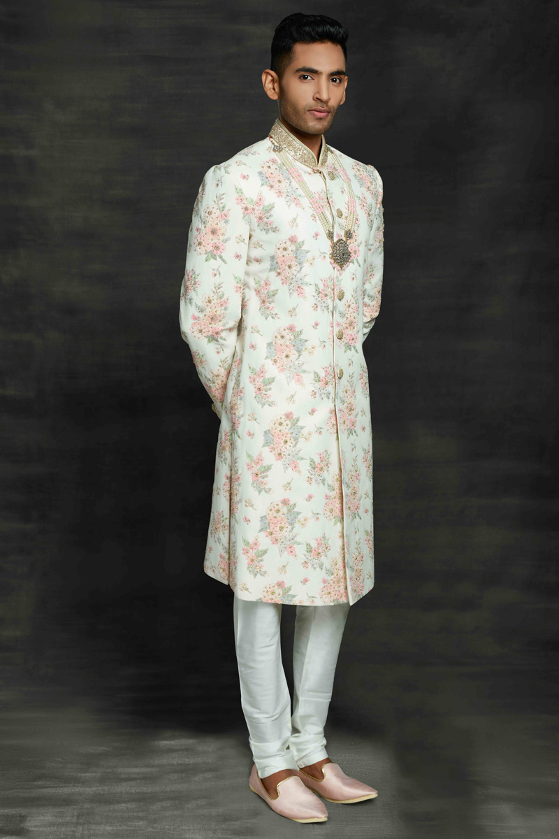 Beige Color Silk Fabric Wedding Wear Designer Sherwani For Groom