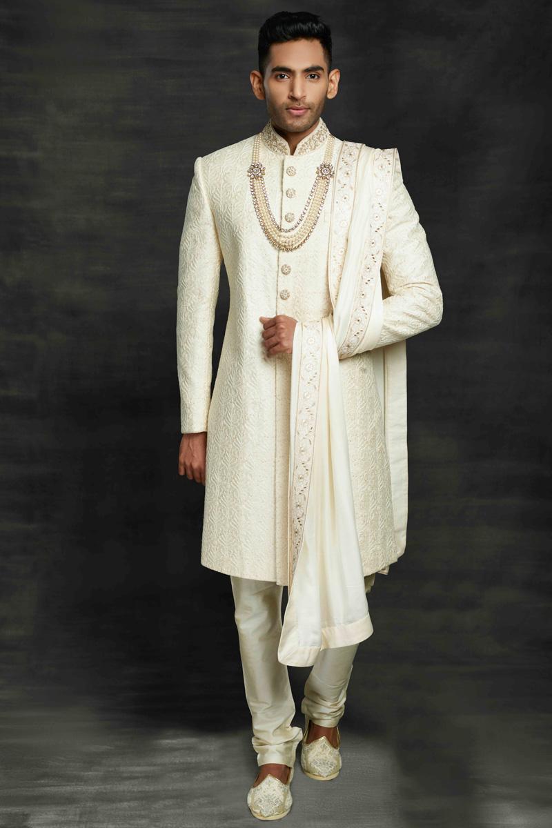 Fancy Fabric Wedding Wear Designer Sherwani For Groom