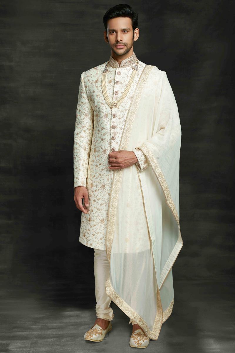 Off White Color Silk Fabric Wedding Wear Designer Sherwani For Groom