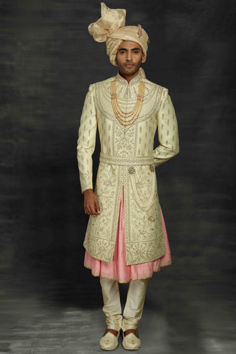Beige Color Silk Fabric Designer Sherwani For Groom