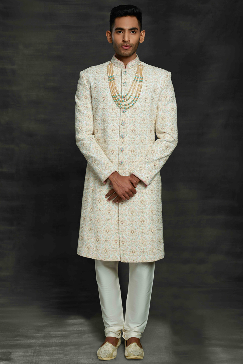 Off White Color Fancy Fabric Wedding Wear Designer Sherwani For Groom