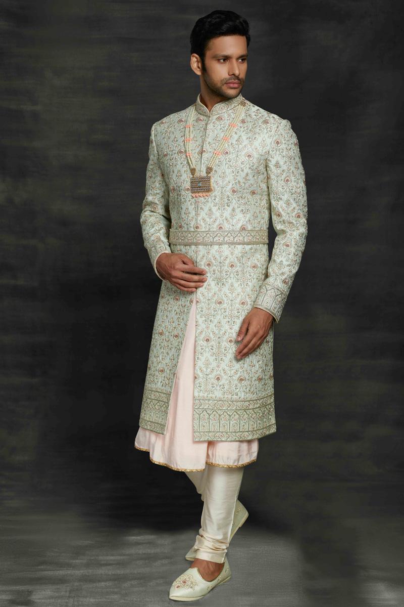 Light Cyan Color Fancy Fabric Wedding Wear Designer Sherwani For Groom