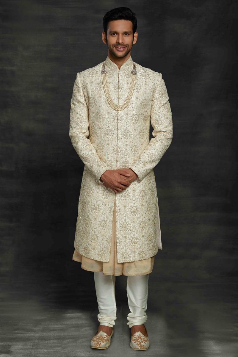 Off White Color Fancy Fabric Wedding Wear Sherwani For Groom