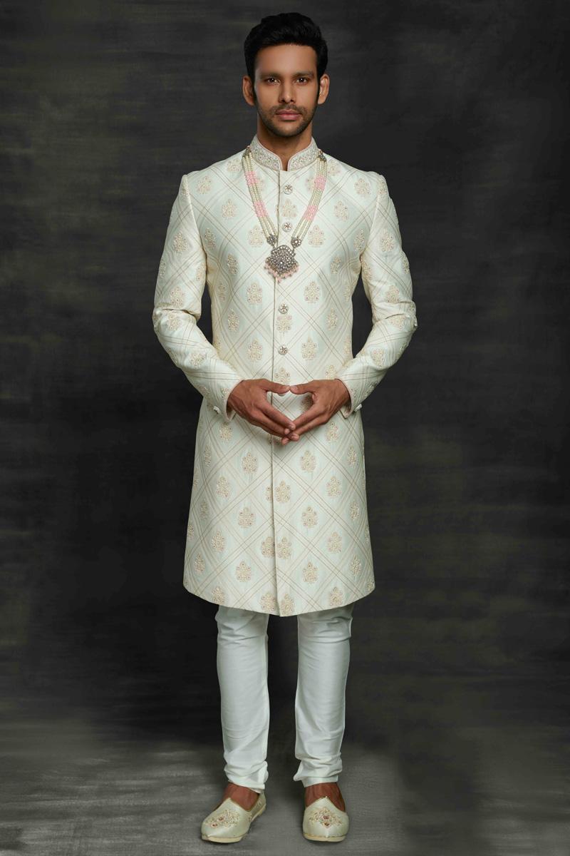 Off White Color Silk Fabric Wedding Wear Designer Sherwani