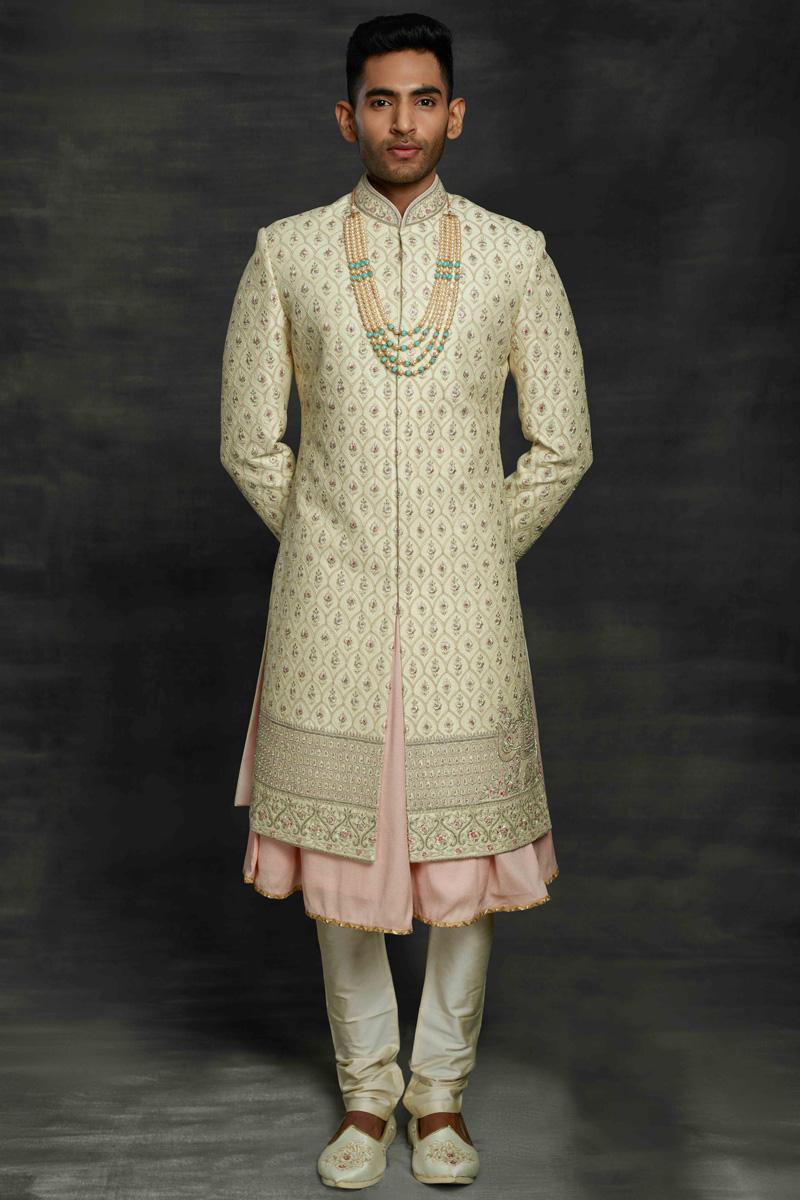 Beige Fancy Fabric Wedding Wear Designer Sherwani For Groom