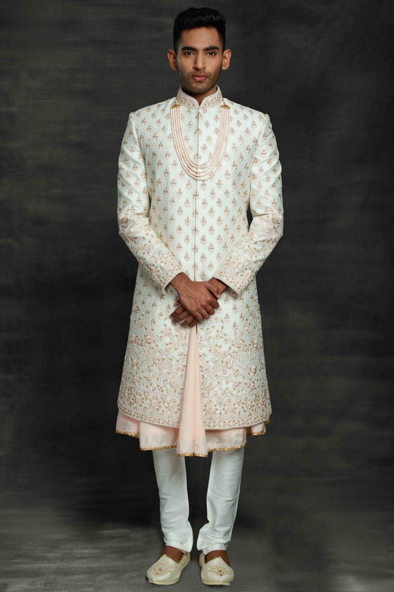 Off White Color Silk Wedding Wear Designer Sherwani For Groom