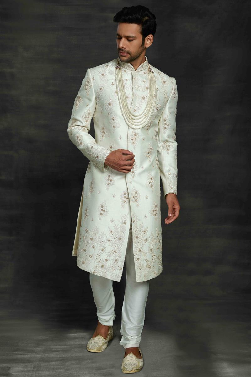 Off White Color Silk Fabric Designer Sherwani For Groom