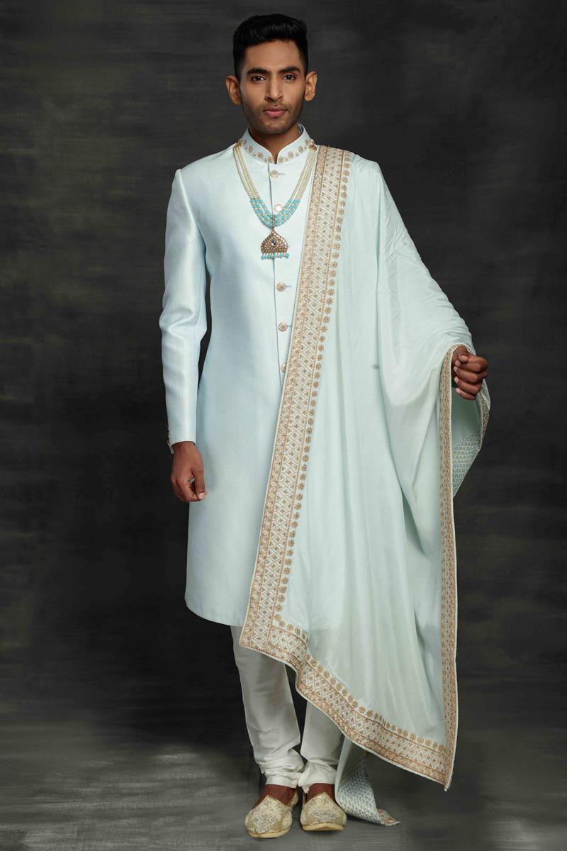 Light Cyan Color Silk Fabric Wedding Wear Designer Sherwani For Groom