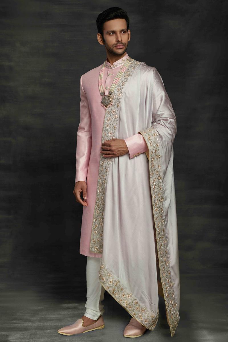 Pink Color Silk Fabric Wedding Wear Designer Sherwani For Groom