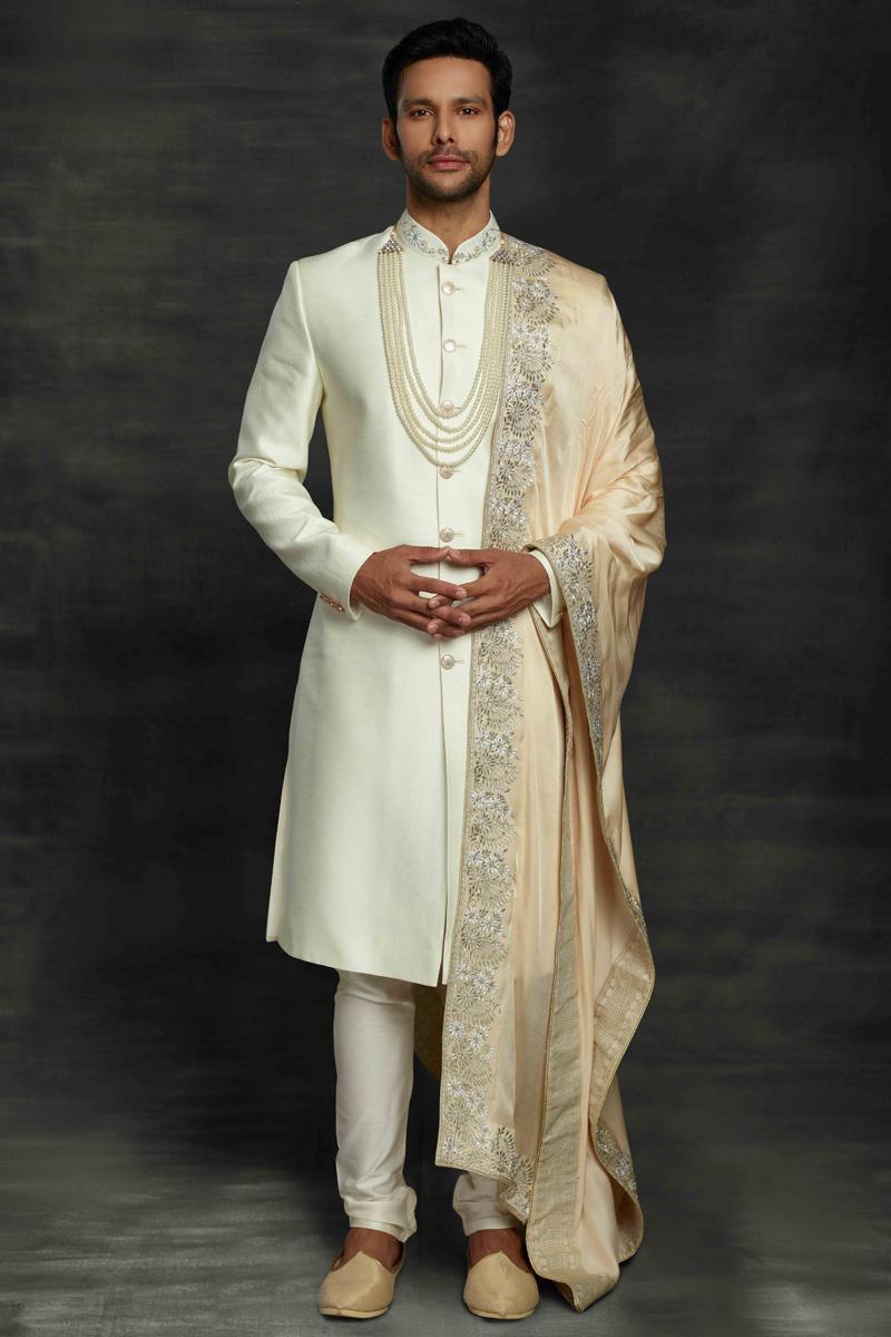 Beige Color Silk Fabric Wedding Wear Sherwani For Groom