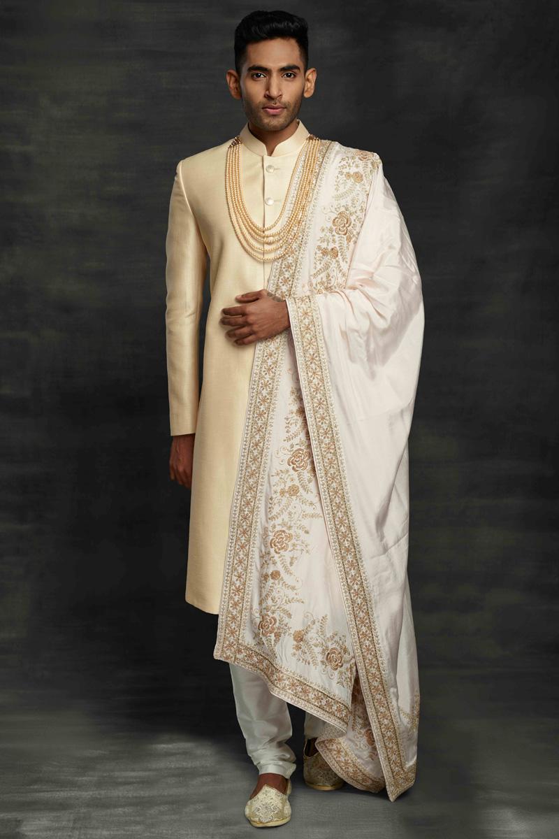 Cream Color Silk Fabric Wedding Wear Designer Sherwani For Groom