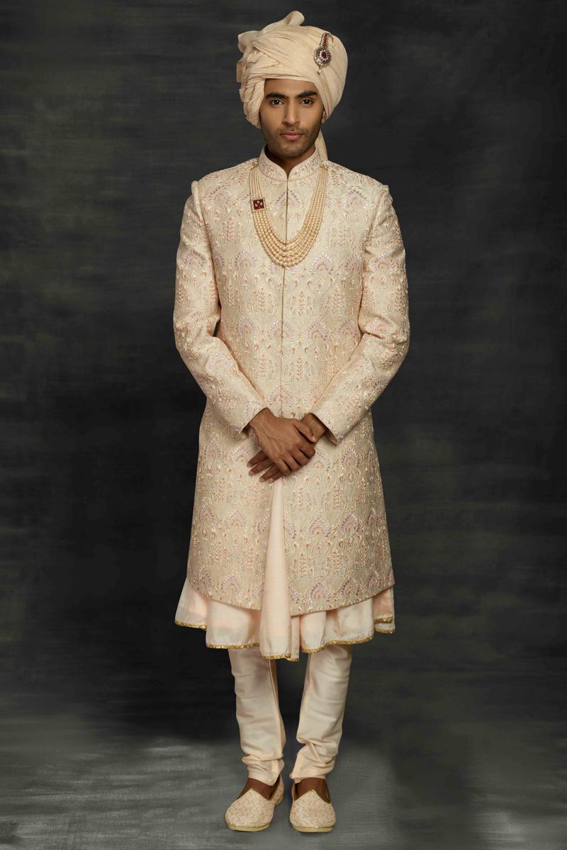 Cream Color Fancy Fabric Wedding Wear Designer Sherwani For Groom