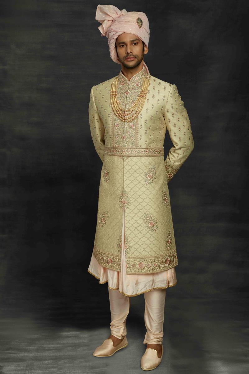Sea Green Color Silk Fabric Wedding Wear Designer Sherwani For Groom
